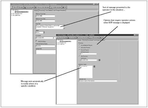 Figuur 10. Het definiëren van Work In Process Messages.